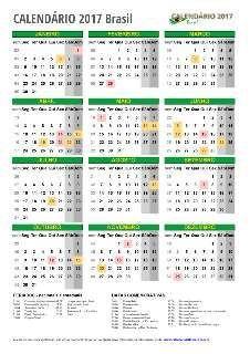 Calendário 2017 Com feriados do  Espirito Santo Para imprimir em PDF
