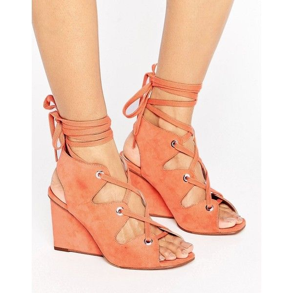 ASOS TASTE Lace Up Sandals (£18) ❤ liked on Polyvore featuring shoes, sandals, orange, wedges shoes, orange wedge shoes, orange shoes, peep toe wedge sandals and lace up wedge sandals