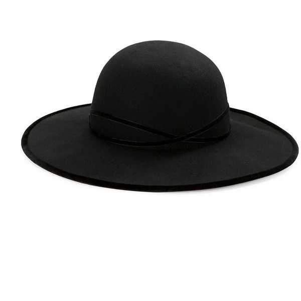 Betmar Velvet-Trimmed Floppy Hat (97 AUD) ❤ liked on Polyvore featuring accessories, hats, black, betmar hats, floppy hats, betmar, brimmed hat and floppy brim hat