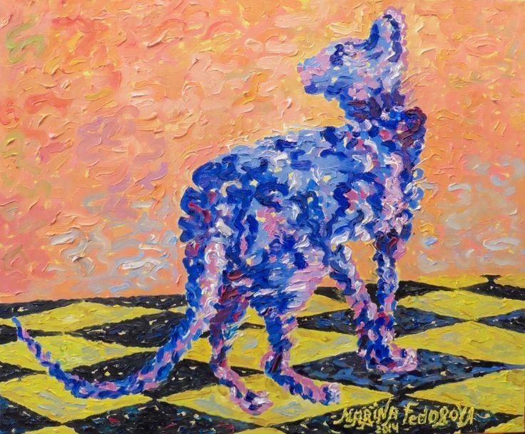 Cat Oil Painting, Orange Oil Painting, Impressionism, Orange and Blue Oil Painting, Impressionist Oil Painting, Blue Cat On a Orange by Margoarts on Etsy