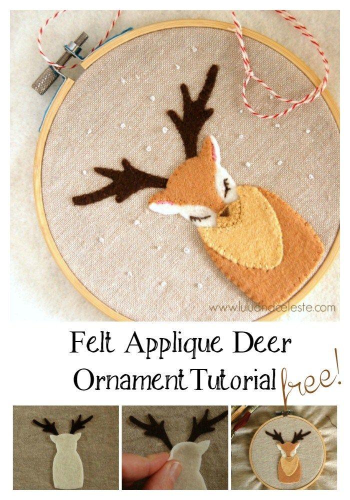Felt Applique Deer Ornament Tutorial by Lulu & Celeste
