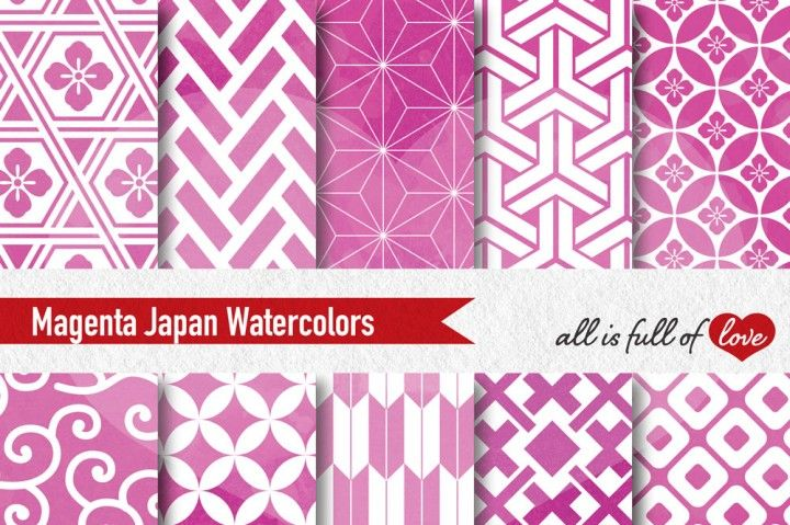 Pink Magenta Japanese Background Patterns :: watercolored graphics with quatrefoil, swirls, stars and more. You get 10 High Quality Sheets :: JPG files size 12x12 inches with 300 dpi jpg, for perfect printing or digital use. These have so many uses, they are great for scrapbooking, crafts, party decor, DIY projects, blogs, stationery & more. All patterns are original and copyrighted by All is Full of Love