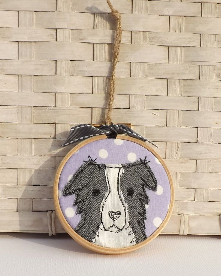 Border collie hoop, hoop art, applique, free motion embroidery, gift, birthday, anniversary by TheDogandtheMoon on Etsy