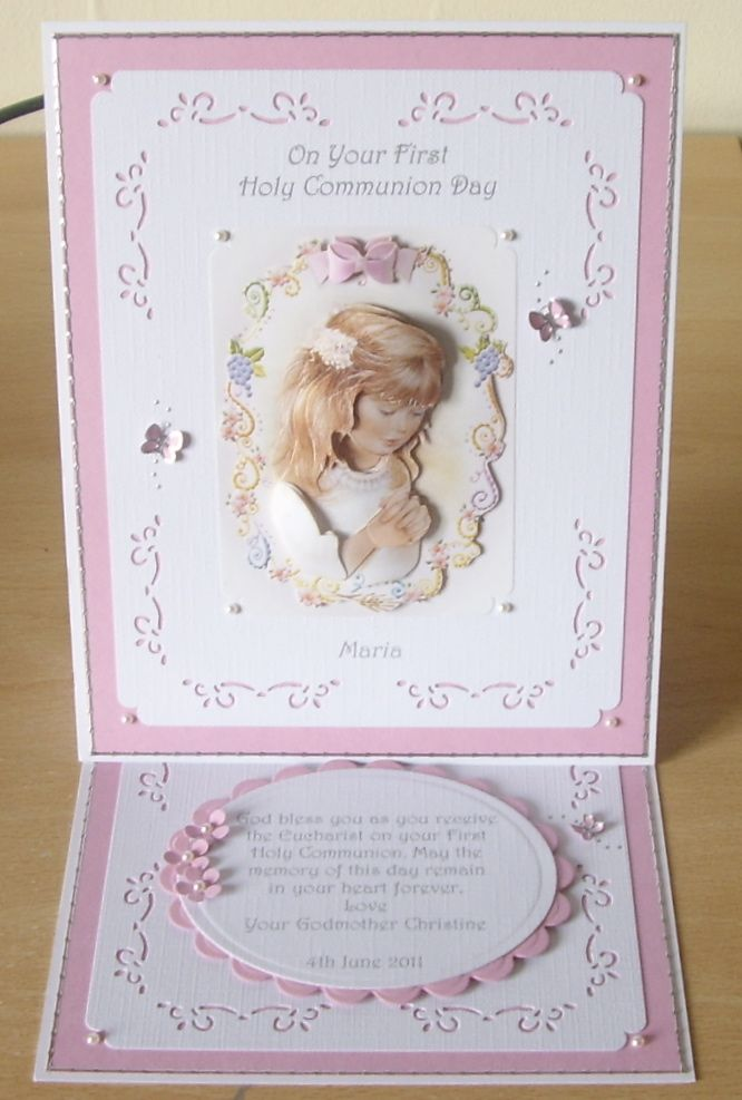 Paper craft communion cards trimcraft first holy for First communion craft ideas
