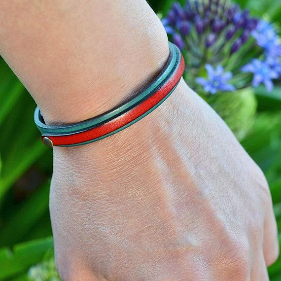 Leather bracelet. Japanese jewelry. Men. Gift. Turquoise. Mens. Womens. Minimalist. Unique. Birthday gift. Made in Japan. Japanese clothing