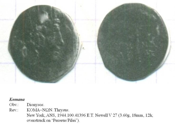 Greek overstrike. Pontus. Komana. Head of Dionysus/Thyrsus on Head of Perseus/Pilei. Time of Mithradates Eupator.