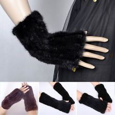Women Real Mink Fur Fingerless Knitted Winter Elastic Gloves Elegant Girl Mitten