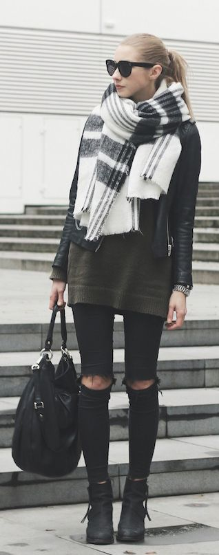Ripped jeans and an oversized scarf x
