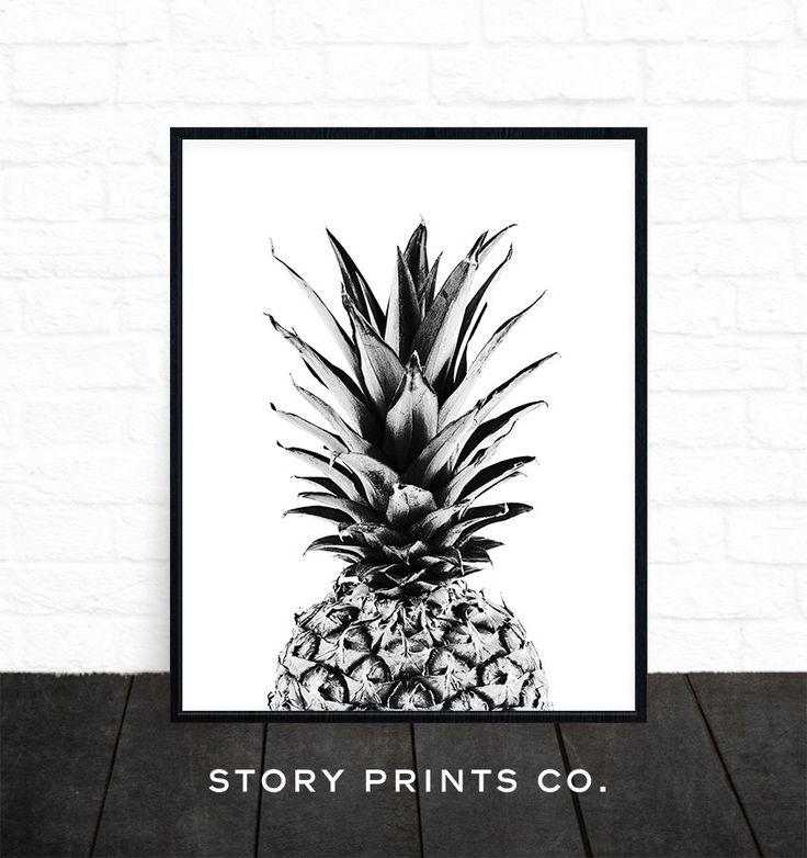 Pineapple Art, Black and White Print, Pineapple Print, Tropical Print, Kitchen Art, Pineapple Printable, Minimalist, Fruit, Pineapple Poster by StoryPrintsCo on Etsy https://www.etsy.com/listing/399613835/pineapple-art-black-and-white-print