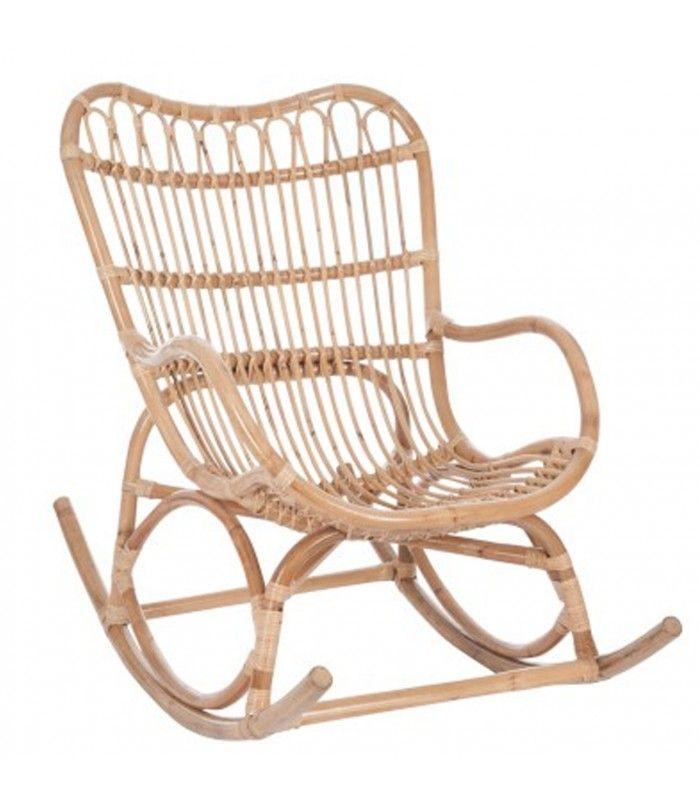 Fauteuil à Bascule Rocking Chair en Rotin Naturel                                                                                                                                                                                 Plus