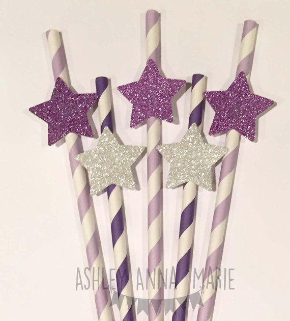 Purple Glitter Star Paper Straws Twinkle Twinkle Little Star Birthday Decorations Baby Shower Straws