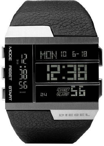 Diesel Digital Dual Time Leather Mens Watch