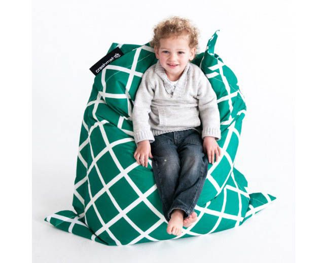 Crashmat-Beanbags- Kids Beanbag {Green Diamonds Outdoor}  $109.95    #limetreekids #toys #kids #play #lounge #beanbag