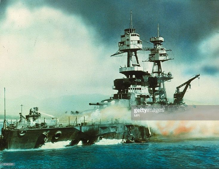 Nevada on fire in Pearl Harbour (Pearl Harbor), Oahu Island after the attack by the Japanese which brought America into WW II.