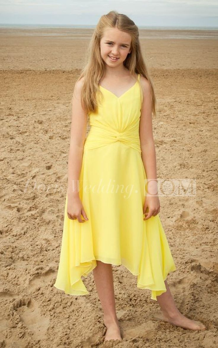 Stylish Spaghetti Strap V-Neck High-low Chiffon Yellow Junior Bridesmaid Dress With Ruching, Junior Dresses, Dresses for Girls. This lovely gown made of soft and lovely chiffon fabric will prove to be a wonderful addition to your little girl's special occasion wardrobe. Perfect for graduations, holiday and birthday dresses, wedding party. #juniordress #bridesmaid #DorisWedding.com