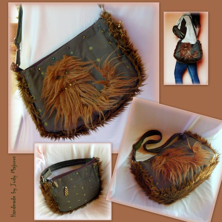 Handmade by Judy Majoros -Cat faux fur shoulder bag - crossbody bag.Recycled bag