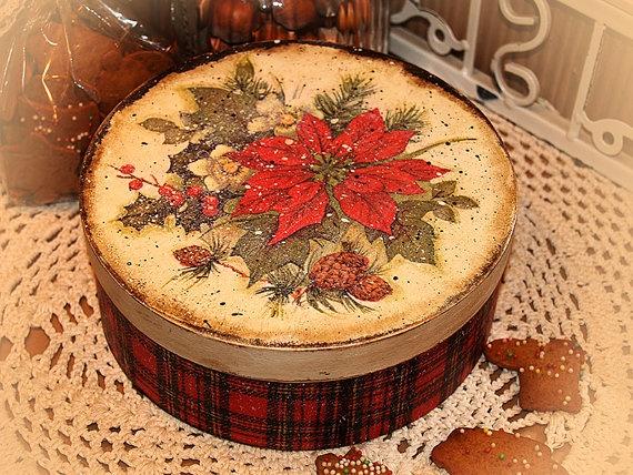 Christmas gifts Round Jewelry tea cookie box by HandmadeDecoupage, via Etsy