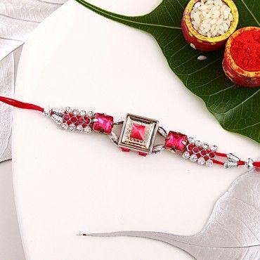 Pink Stone Kundan Rakhi rakhi online shopping