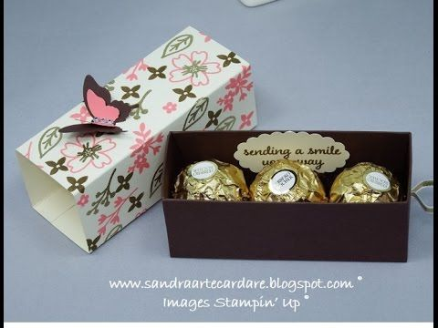Ferrero Rocher Treat Box with ribbon pull using Stampin' Up products - YouTube