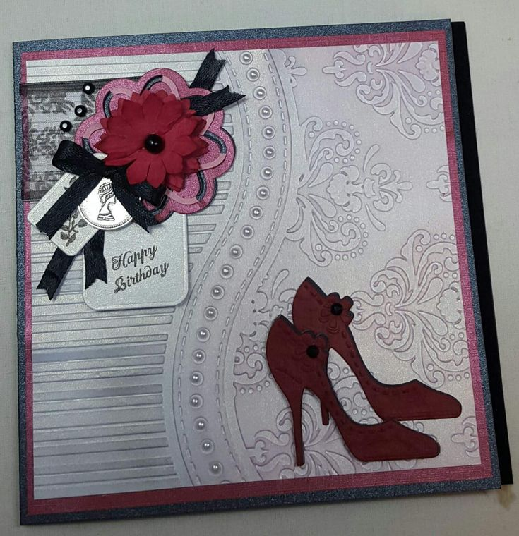 That folder Ladies birthday card with mini shoes
