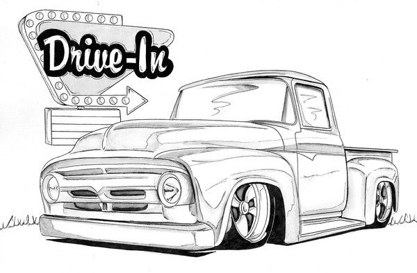 Coloring Pages Model T Ford : 1956 ford truck by nathan miller artwanted com silueta de carro