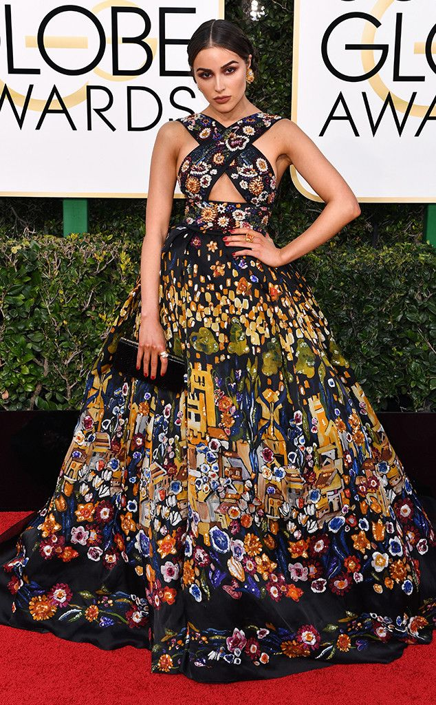 Olivia Culpo from 2017 Golden Globes Red Carpet Arrivals - I know it's a bit busy, but I love the Klimt-esque feeling it evokes.  In Zuhair Murad