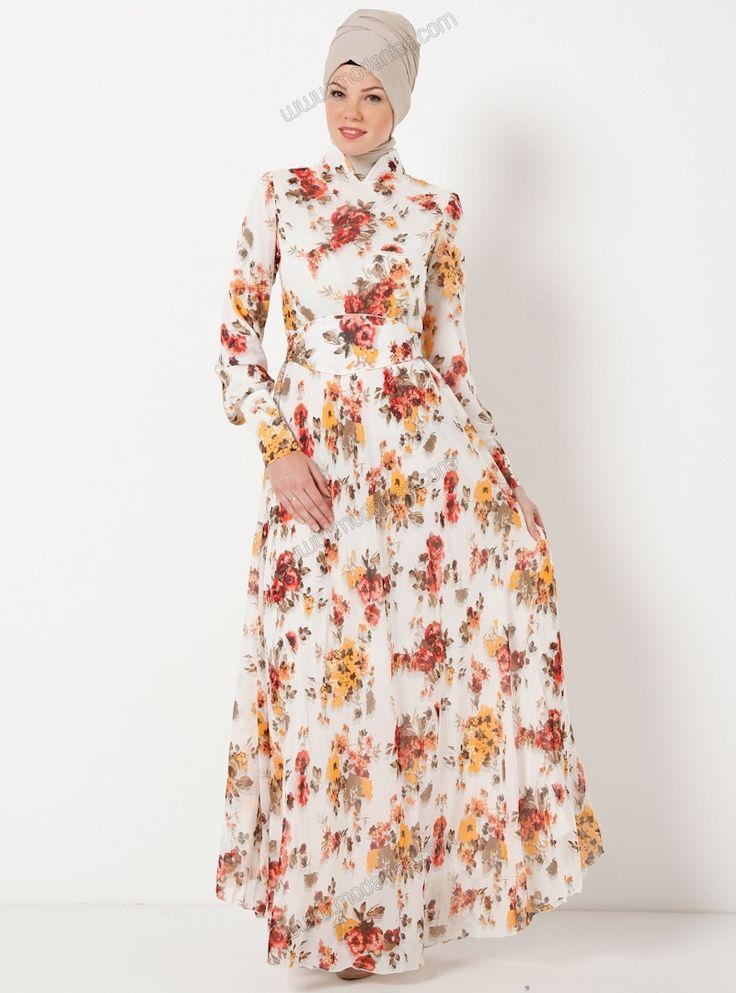 Çiçekli Şifon Elbise - E1995 - 2 - Beyaz - The Kendira