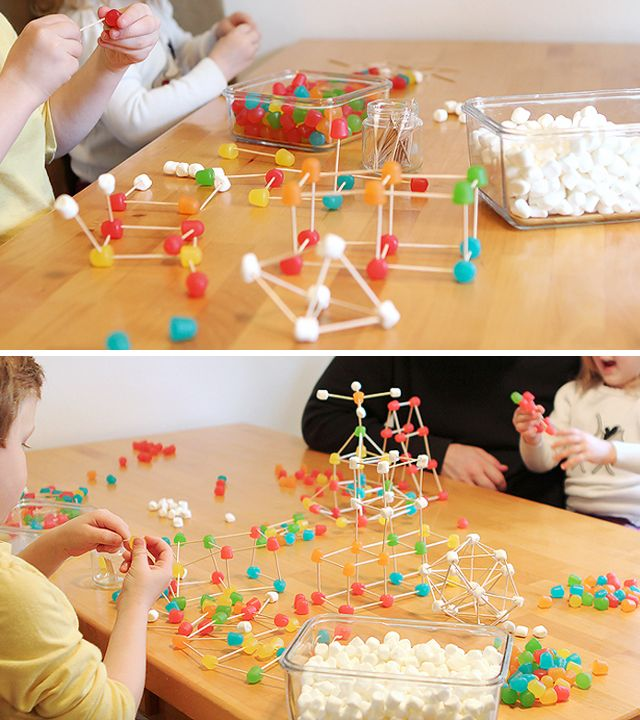 Gum drop engineering to build STEM skills - post has great tips on extending the activity too -- did this with k inquiry,  so much fun! Must remember to do this with my own kids!  Use marshmallows first, then dots, place playing cards on top and slowly add pennies for weights, compare structure was stronger, also test triangles and squares.