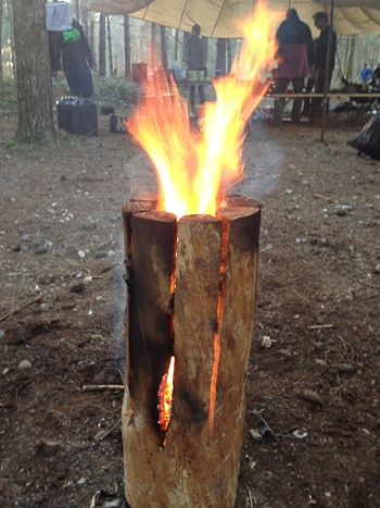Log candle with flames emanating from top: http://kirtleykettles.co.uk/making-a-swedish-log-candle/ #bushcraft #kirtleykettles