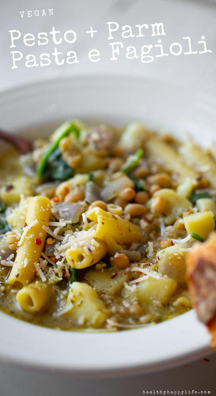 Pesto & Parm Pasta e Fagioli – #Vegan Recipe #soup #dinner