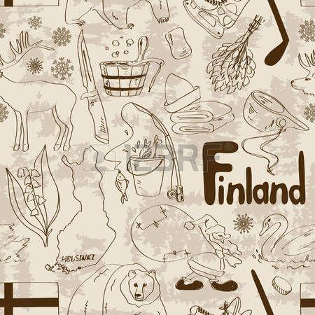 Fun retro sketch Finland seamless pattern Vector