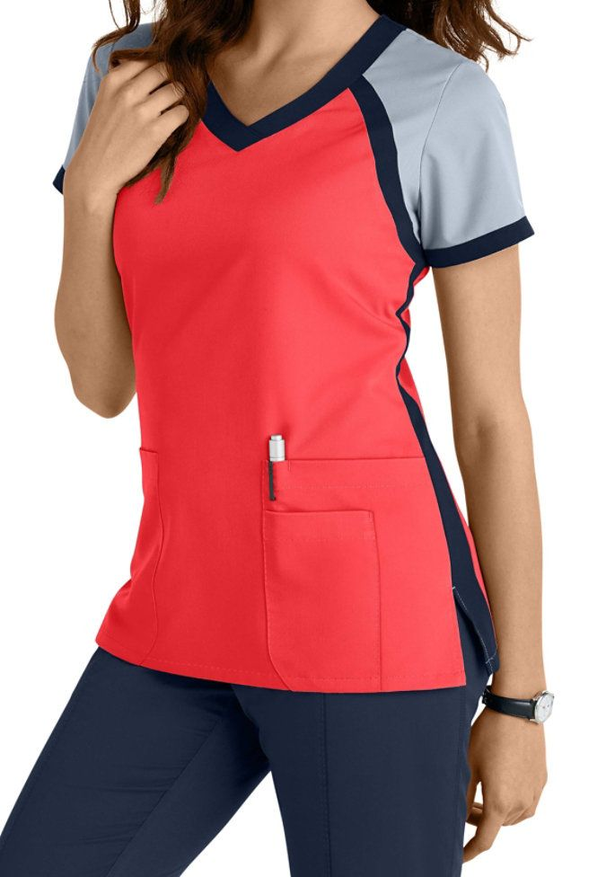 Greys Anatomy 3 Pocket Color Block V-neck Scrub Tops Main Image