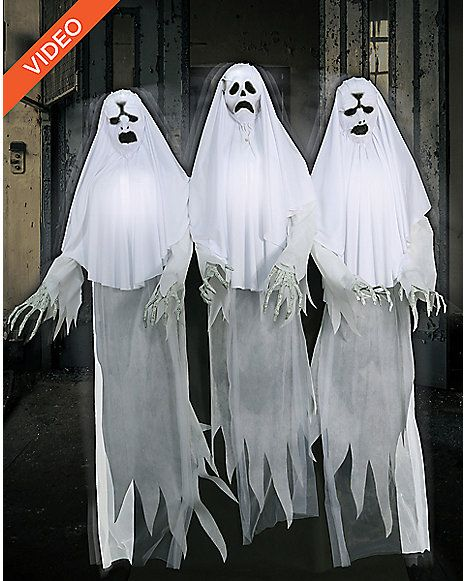 6 ft spooky ghost trio animatronics decorations spirithalloweencom - Halloween Props 2016