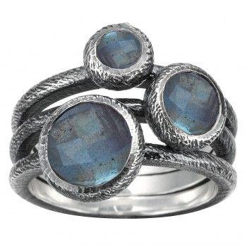 Rabinovich Ring med Labradorit, Sølv/Oxyderet