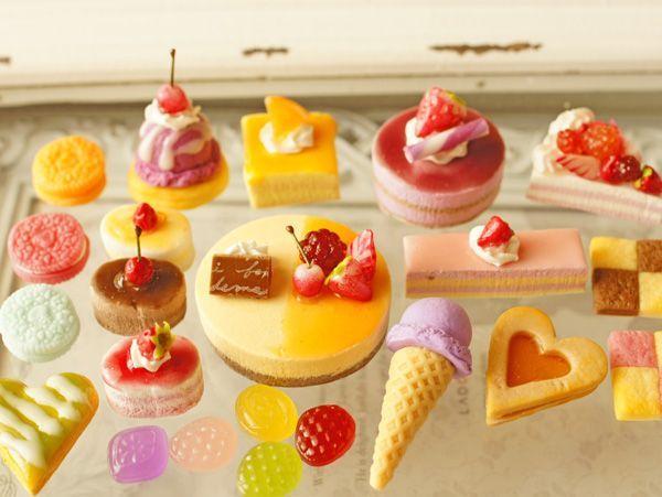 スイーツデコパーツ22個☆オレンジケーキ、カットケーキ他(H233)_画像1