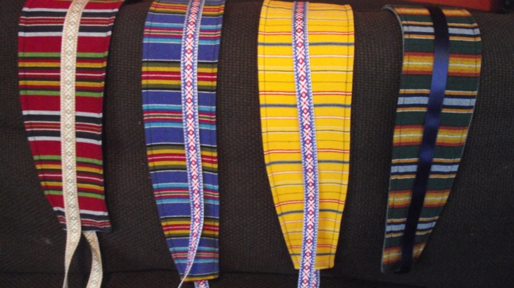 Belts made out of Estonian look-a-like folk costume materials, recycled jeans and lace/silk ribbons.  @http://www.facebook.com/Kansanomaisetkankaat