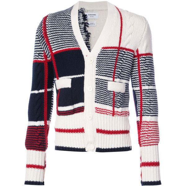 Thom Browne Classic V-neck Cardigan With Large Plaid Intarsia In... ($4,740) ❤ liked on Polyvore featuring men's fashion, men's clothing, men's sweaters, red, mens vneck sweater, mens red cardigan sweater, mens red sweater, mens red v neck sweater and mens v-neck cashmere sweaters