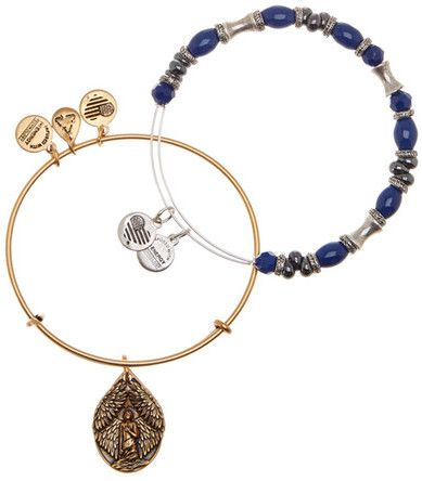 Alex and Ani French Royalty Beaded Guardian Angel Wire Bangle 2-Piecee Bracelet Set