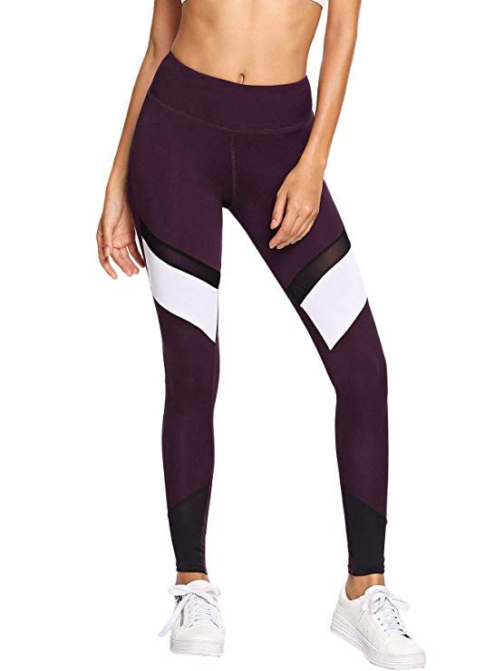 21c329a6c2a17 SweatyRocks Women's High Waisted Yoga Pants Gym Workout Dance Leggings with  Mesh at Amazon Women's Clothing