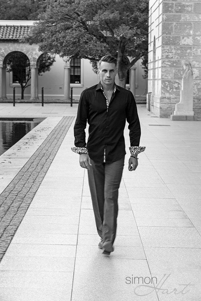 The latest Simon Hart Black Casablanca shirt, modelled by Korum Ellis.  Online now at simonhart.com.au
