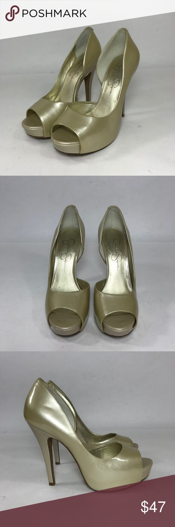 Jessica Simpson High Heel in Pale Gold WEBSITE - WWW.THECHICAGOCONSIGNMENT.COM  INSTAGRAM - @CHICAGOCONSIGNMENT  CONDITION - Worn once  BRAND - Jessica Simpson  SKU - 654-SHAS  RETAIL PRICE - $235   SIZE - 6.5  FIT - Regular/Medium  MATERIAL - Patent Leather  LENGTH - Heel height: 4.5  INSOLE MEASUREMENT - 9.5  COLOR - Pale gold  ADDITIONAL INFO - Please note scuff on back of heel  NOTE - NO TRANSACTIONS OFF POSH. WE BUNDLE DISCOUNT AND ACCEPT REASONABLE OFFERS…
