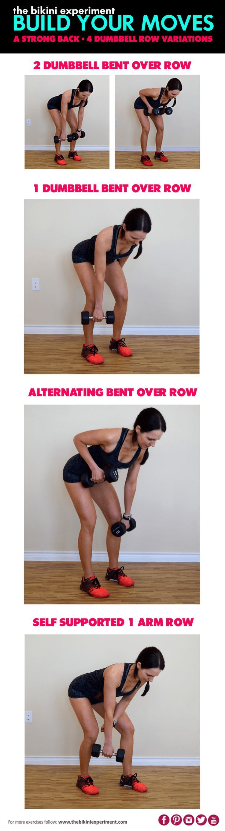 A dumbbell row is an awesome exercise to add to your workout routine. Learn the basic! Then add simple ways to vary the movement and maximize its benefits.|The Bikini Experiment