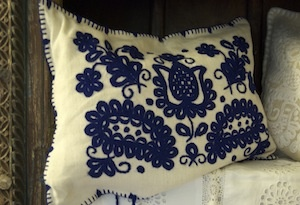 The indigo blue embroidery is just beautiful!