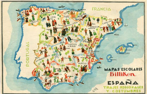 Illustrated Map of Spain  Vintage School Map by CarambasVintage
