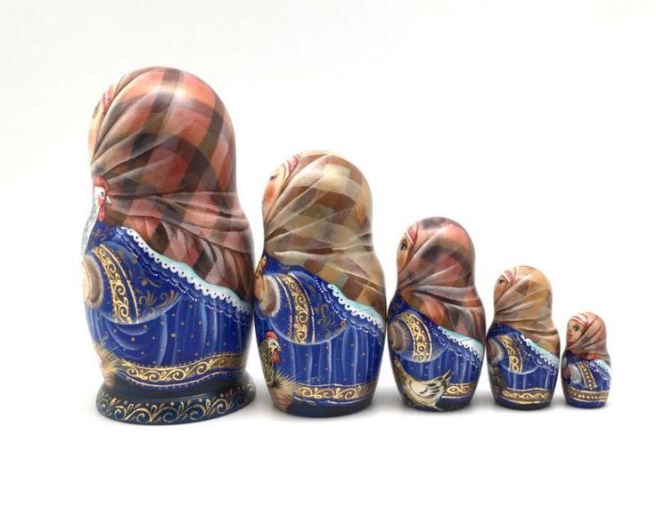 Русская деревенская девушка ручной работы ручной росписи уникальный матрешка набор