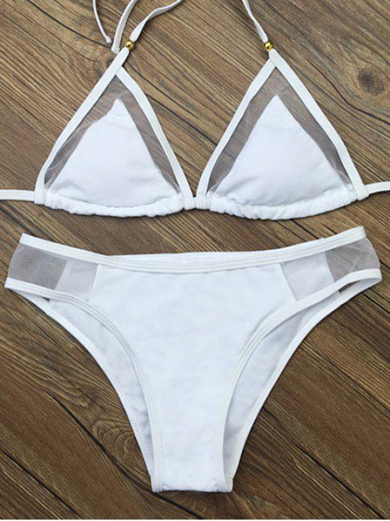 Voile Panel See-Through Bikini Set - WHITE M Mobile