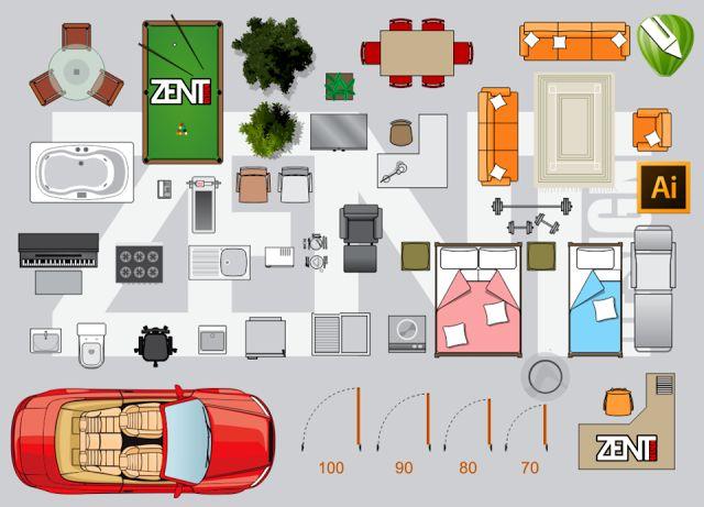 Zent Design 2d Furniture Floor Plan Vector Premium