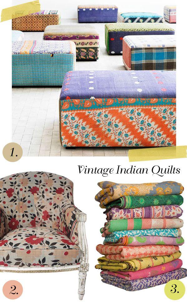 Vintage Indian QuiltsIndian Quilt, Patterns Textiles, Vintagee Saris Quilt, Closets Vintage, Foot Stools, Vintage Saris, Vintage Indian, Things To Do