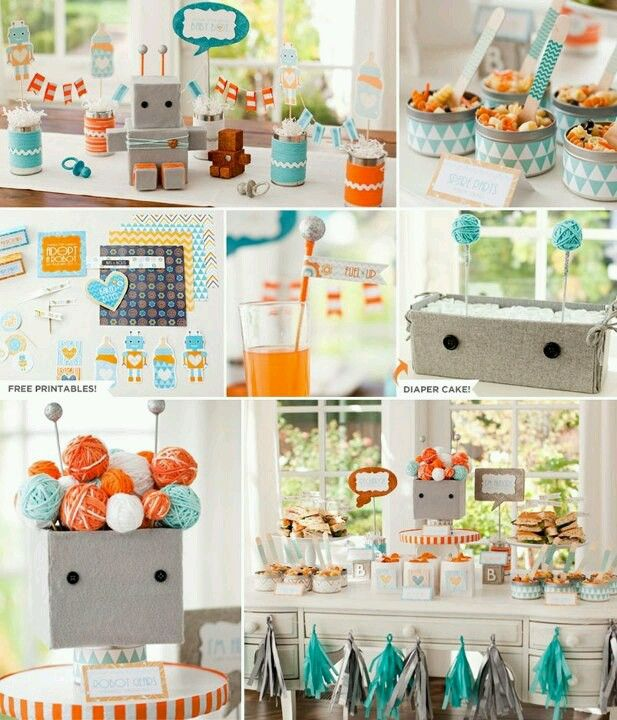 Idea para decorar tu fiesta de Baby Shower con el tema de robots.