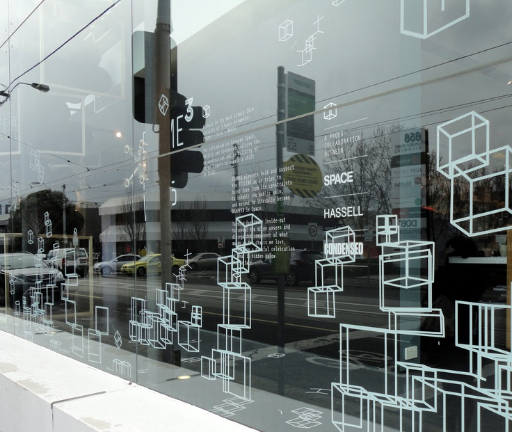 Space furniture retail showroom window decals